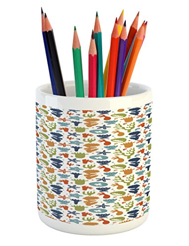 Cheap  Lunarable Under the Sea Pencil Pen Holder, Colorful Coral Reef Pattern Marine..