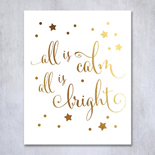 all-is-calm-all-is-bright-gold-foil-print-small-poster-christmas-art-silent-night-winter-holiday-pos