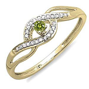 10K Yellow Gold Round Light Colored Peridot And White Diamond Engagement Bridal Promise Ring (Size 7)