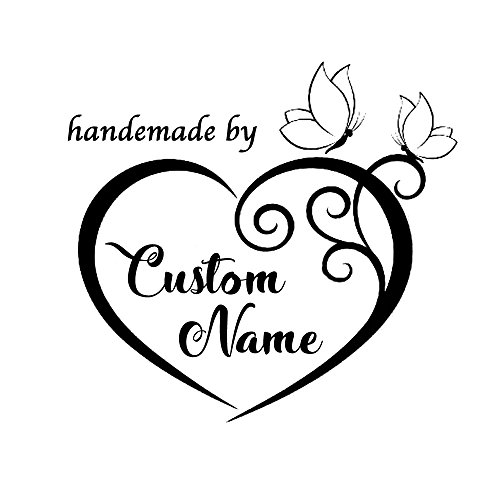 Heart butterfly frame Handmade with love by Created by personalized custom name Self inking text business pre ink stamp - Card Heart Place Frame Double