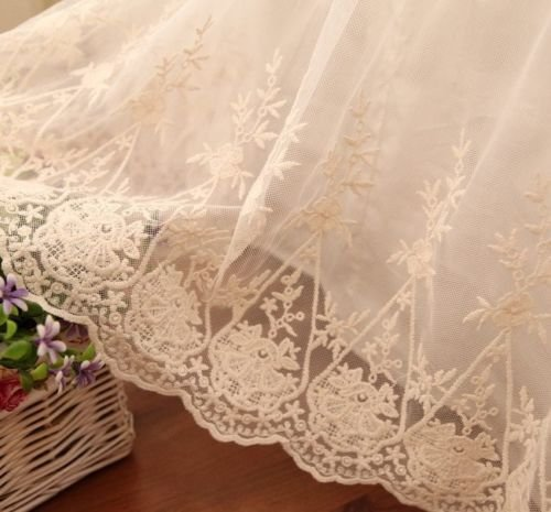 Swanleke Luxury and Elegant Romantic Ivory Two Layers Lace Cotton Bed Skirt 1301 (King) by Swanlake