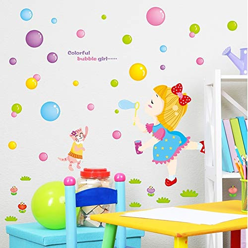 Mushroom preferably Child Girl Drawing Room Wall Stickers Cartoon Girl Wallpaper 3 Bedroom Bedside Warmly Decorated Three-Dimensional Wall Stickers self-Adhesive Decorative Wall (Color Bubble