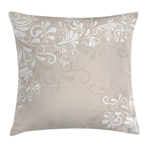 Ambesonne Oriental Decor Throw Pillow Cushion Cover, Floral Ivy Swirls Leaves Abstract Modern Frame like Artwork Image, Decorative Square Accent Pillow Case, 18 X 18 Inches, Cream Tan and White
