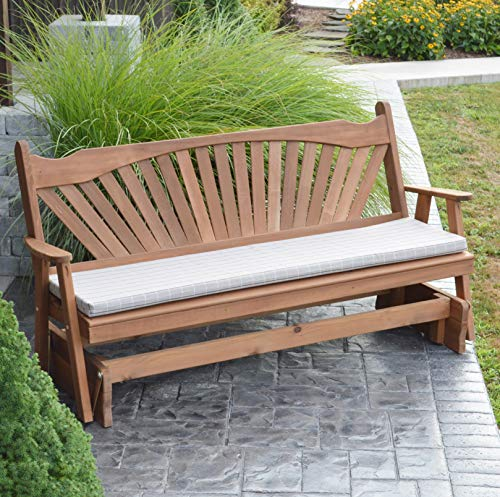CEDAR PORCH GLIDER BENCH Outdoor Patio Gliding Bench, 2 Person Wooden Loveseat Benches, Amish Made Furniture Weather Resistant Western Red Cedar Wood, 5 Styles (5ft, Fanback Oak Stain)