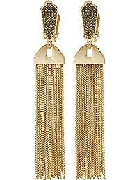 Women's Pave Tassel Earrings Gold 1 One Size