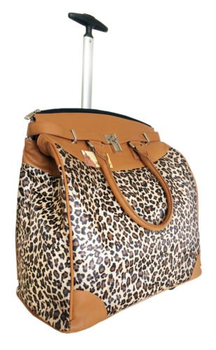 Trendy Flyer Computer/Laptop Rolling Bag 2 Wheel Case Leopard Beige ()