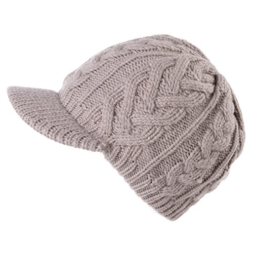 Jeff & Aimy 100% Wool Knitted Newsboy Cap Beanies with Visor Bill Cold Weather Winter Hat Ladies Beret -