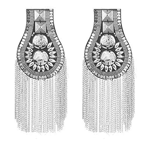 Blazer Epaulet / Kpop Fringed / Tassel Metal Punk Shoulder Epaulette / Dpikes Brooch Women Men Suit Accessories by The Pair (Silver)