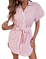 ROMEWE Women's Cute Striped Belted Button up Collar Summer Short Shirt Dress