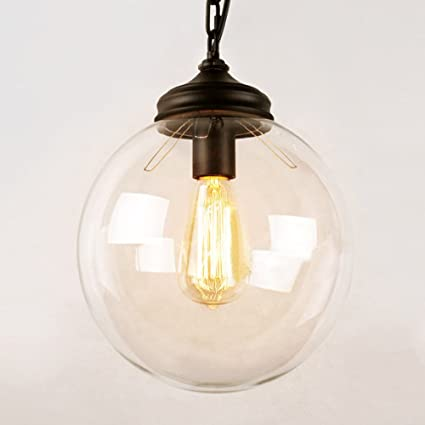 Susuo 1 Light Industrial Edison Simplicity Style Clear Glass Globe