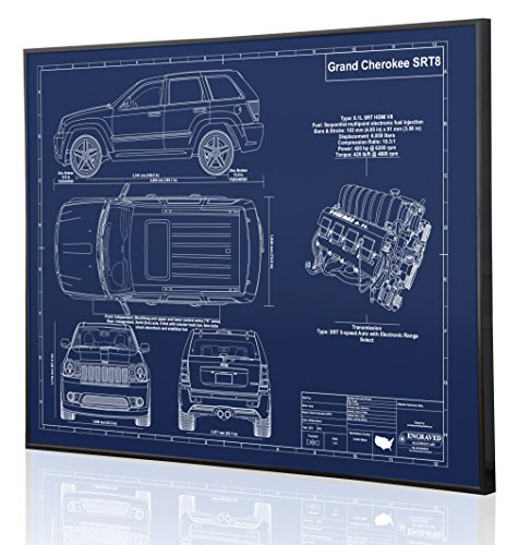 Jeep Grand Cherokee SRT8 Blueprint Artwork-Laser Marked & Personalized-The Perfect Jeep Gifts ()
