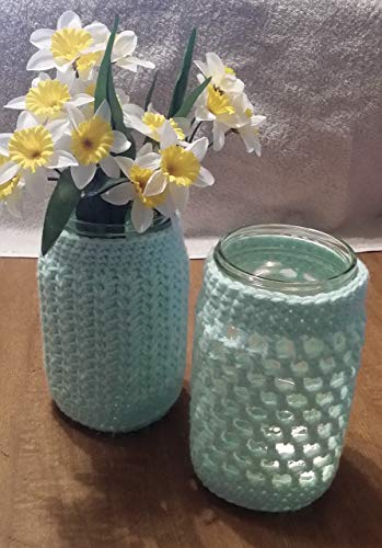 - Hand Crocheted pastel mint green Mason jar cozies for vase, candle, desktop set of two