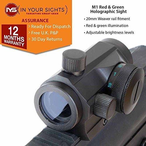 HOLOGRÁFICOS ROJO + Verde Visor de punto / Micro M1 AIRSOFT Rifle Vista In Your Sights