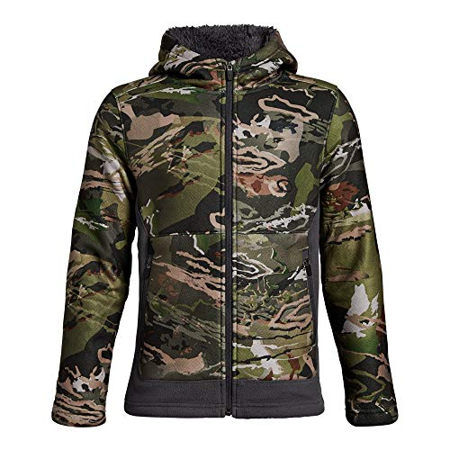 (Under Armour Boys Stealth Fleece Jacket, Ua Forest Camo (940)/Black, Youth X-Large)