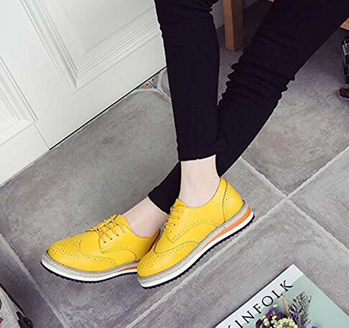 Top Oxfords Solid Round Women's Stylish Yellow Low Platform Shoes CHFSO Toe Brogue Mid Up Lace Heel Hnzxd