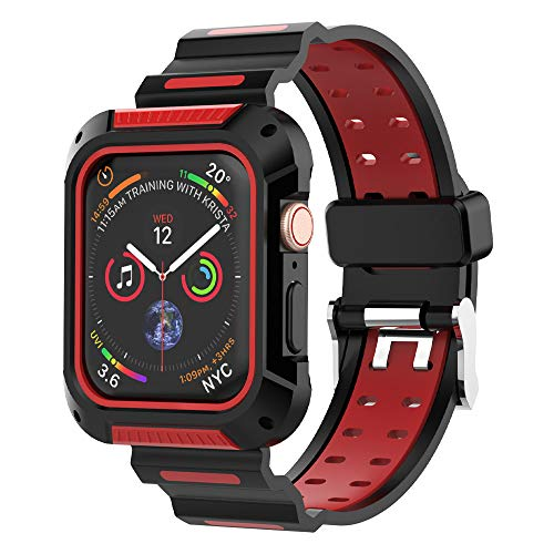 UMTELE Compatible for Apple Watch 4 Case and Band 44mm, Shock Resistant Rugged Protective Case Bumper Cover with Soft Sport Bands Compatible for Apple Watch Series 4
