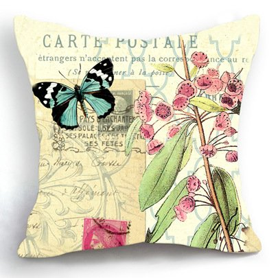 Loool Retro Vintage Butterfly Floral 18 X 18 Inch Square Cotton Linen Home Decor Decorative Throw Pillow Cover Cushion Case Butterfly Settee