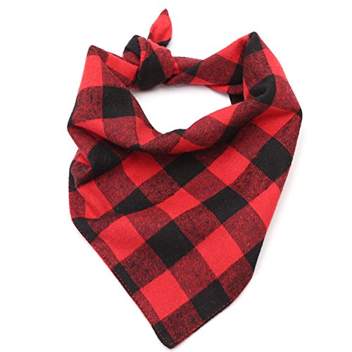 WORDERFUL Dog Bandana Bibs Pet Plaid Scarf Triangle Head Scarfs Accessories Neckerchief for Small and Medium Dog (Plaid, M) ()