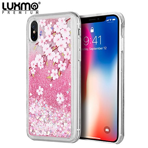 - 3D Winter Sparkle Glitter Waterfall Phone Case (Cherry Blossoms) for iPhone Xs, X Interactive Water Liquid Cascade Floating Snow Globe Dynamic Transparent Smartphone Cover Pink Japan Flower Trees
