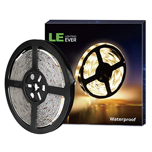 LE 12V LED Strip Light, Flexible, Waterproof, SMD 2835, 300 LEDS, 16.4ft Tape Light for Home, Kitchen, Christmas and More, Warm White