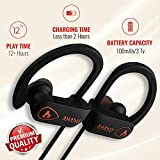 AHADU Bluetooth Headphones, AHBT-101, BEST Wireless Sport workout Earphones w/ Microphone 12+ Hrs Battery Life IPX7 Water/Sweat Proof Secure Fit Light Weight Stereo Sound Earbuds w/Noise Cancelling