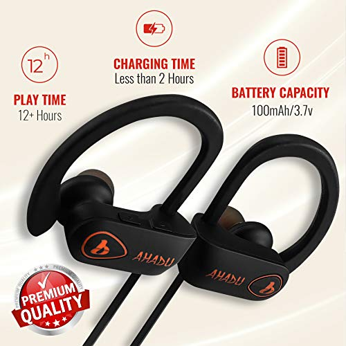 AHADU Bluetooth Headphones, AHBT-101, Best Wireless Sport Workout Earphones w Microphone 12 Hrs Battery Life IPX7 Water Sweat Proof Secure Fit Light Weight Stereo Sound Earbuds w Noise Cancelling