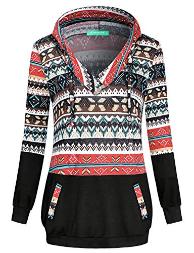 Kimmery Pullover Sweatshirts for Women, Patchwork Graphic Print Long Sleeve Kangaoo Pocket Boyfriend Hoodie Banded Bottom Buttons V Neck Santa Xmas Thanksgiving Halloween Ladies Jumper Brown XX Large for $<!--$16.99-->