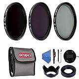 Beschoi 52mm Filter Kit ND2 + ND4 + ND8 Slim Lens Filter Set ( Petal Lens Hood + Collapsible Rubber Lens Hood + Center Pinch Lens Cap + Cleaning Cloth + Cleaning Pen + Cap Keeper + Filter Pouch)