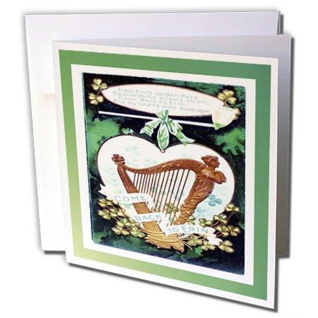 3dRose - Tarjeta de felicitación clásico irlandesa con arpa – 6 x 6 pulgadas, juego de 6 (gc_37395_1)