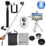 XCSOURCE Selfie Stick Bluetooth Remote + 3in1 Camera Lens Kit + Tripod Silver DC540