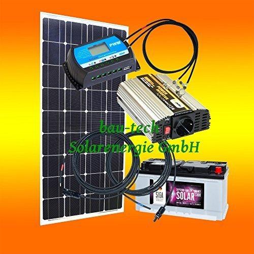 100 Watt Inselanlage, 12 Volt Komplett SET mit Spannungswandler mit Batterie