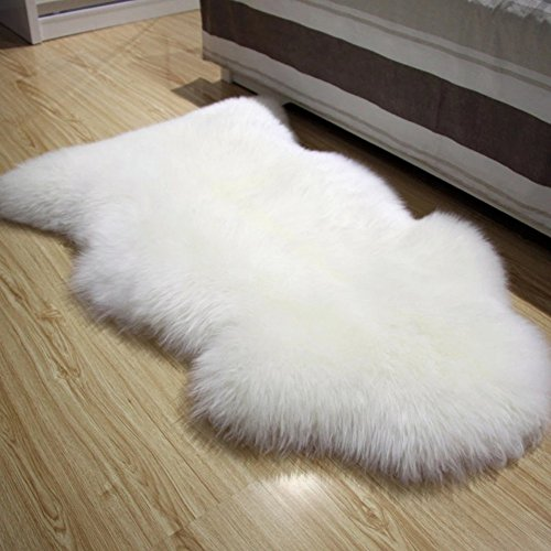 FOLWEP Faux Fur Sheepskin Decorative Rug Couch Chair Cover Seat Pad Plain Shaggy Area Rugs, 23.6 x 35.4 Inch,White by FOLWEP