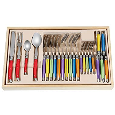 FlyingColors Laguiole Stainless Steel Flatware Set. Plastic Handle, Wooden Gift Box, 24 Pieces
