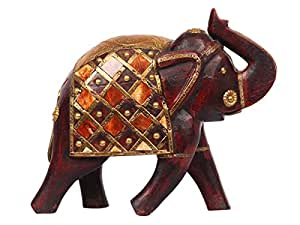 Wooden Elephant Sculpture Figurine Statue Hand Carved with Hand Painted Rustic Finish Home Decorative
