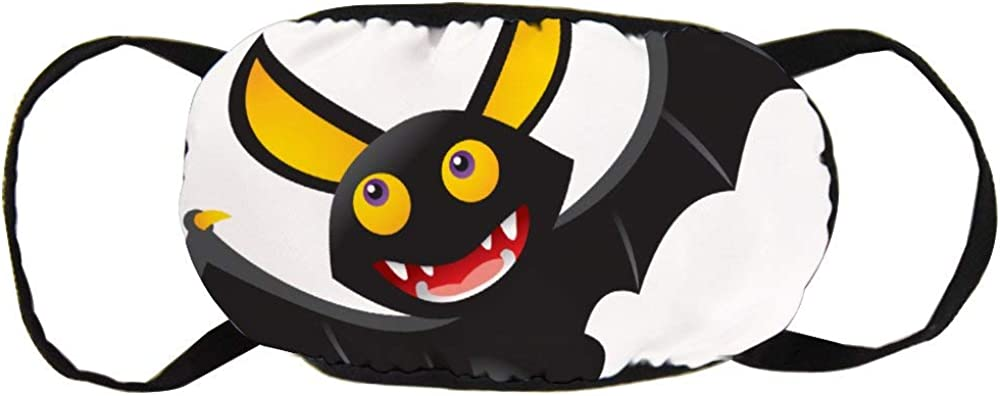 Promini Safety Masks Unisex Mouth Mask Cartoon Bat Cotton Anti-Dust Mouth Mask Reusable Outdoor Protective Mask for Adults and Teens