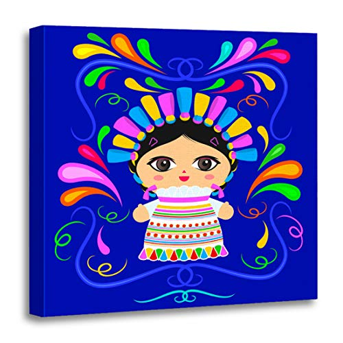(Emvency Canvas Wall Art Print Beautiful Colorful America Mexican Doll Ornaments Avatar Braid Cartoon Artwork for Home Decor 20 x 20 Inches)
