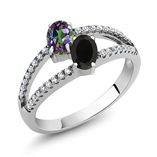 1.30 Ct Oval Green Mystic Topaz Black Onyx Two Stone 925 Sterling Silver - Stones Oval Two
