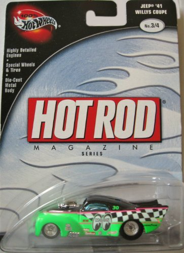 Hot Wheels 100% Hot Rod Magazine 3/4 Jeep '41 Willys Coupe GREEN 41 Willys Coupe Hot Rod