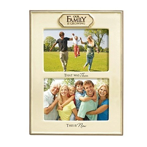 """Grasslands Road """"Our Family is Growing"""" Double Opening Ceramic Frame, Antique White, 4 by 6-Inch"""