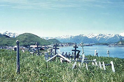 The Russian Orthodox graveyard at Unalaska 12x18 Giclee On Canvas