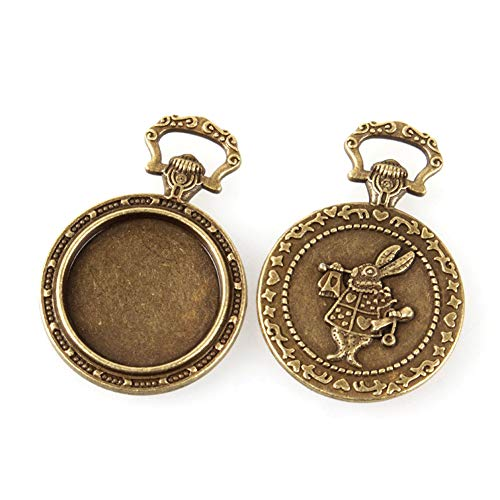 - Kissitty 10pcs Antique Bronze Pendant Cabochon Settings Carved Rabbit Double Sided 20mm(0.78