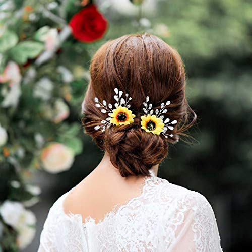 UPSTONE Pearl Wedding Hair Pins Flower Bridal Headpiece Gold Crystal Sunflower Hair Accessories for Women and Girls (Silver)
