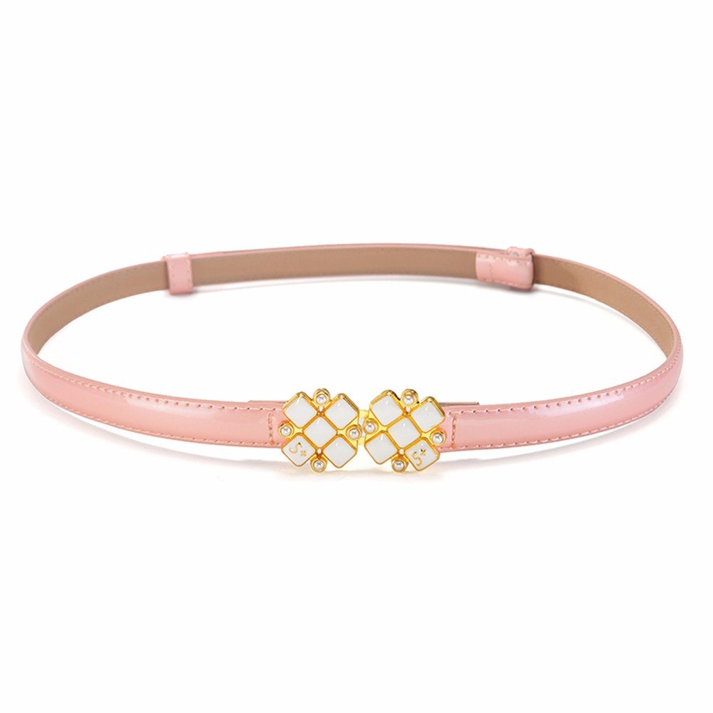 SAIBANGZI Ms Women All Seasons Belt Fine Leather Simple Decorative Dress Belt Girlfriend Present Pink 89Cm