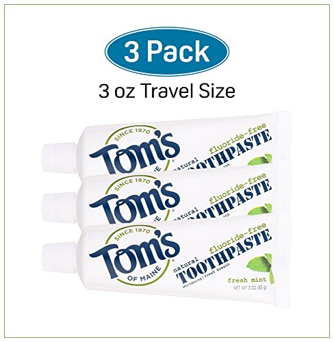 Tom's of Maine Natural Fluoride-Free Whitening Toothpaste Fresh Mint Travel Size TSA Approved 3 Ounces (Pack of 3) Freshens Breath