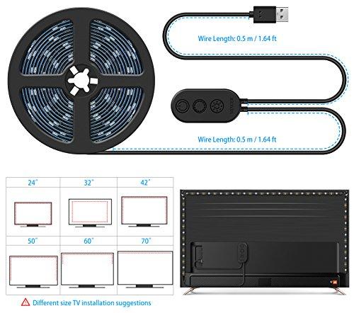 DreamColor LED Strip Lights with APP, Minger 6.6FT/2M 5V USB Light Strip Built-in Digital IC, 5050 RGB Light Color Changing with Music IP65 Waterproof Led String Lights Kit, LED TV Backlight Strip by MINGER (Image #5)
