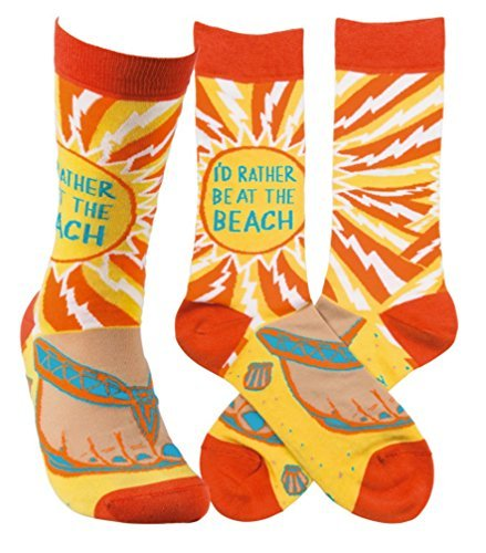 Novelty Funky Womens Crew Socks Primitives by Kathy - I'd Rather Be At The Beach
