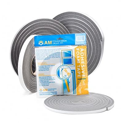 AM Conservation Group V443H PVC Closed Cell Foam Tape Weatherstripping, Gray, Small Gap