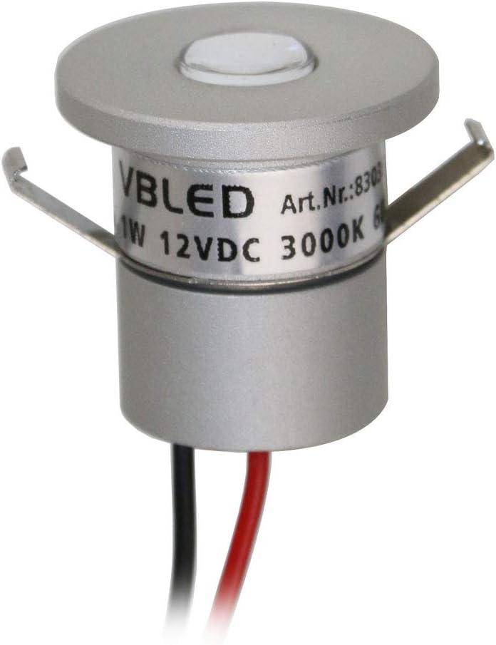 VBLED® Foco LED empotrable (aluminio, IP65, resistente al agua, 1 W, 12 V CC, 60 lm, luz blanca cálida)