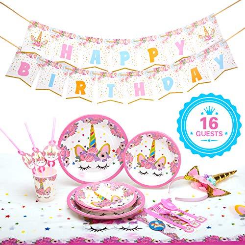 (Premium Unicorn Birthday Party Supplies -149 PCS Serve 16, FDA Approved, Including Plates, Cups, Utensils, Napkins, Table Cover, Invitation Cards, Banner,Unicorn Headband, Sash)