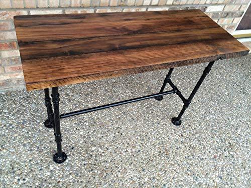 """Reclaimed Wood Desk Table - Solid Oak W/ 28"""" Black Iron Pipe legs."""